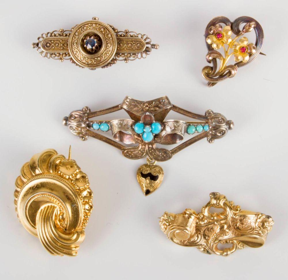 Five Antique Gold Brooches Bidspirit